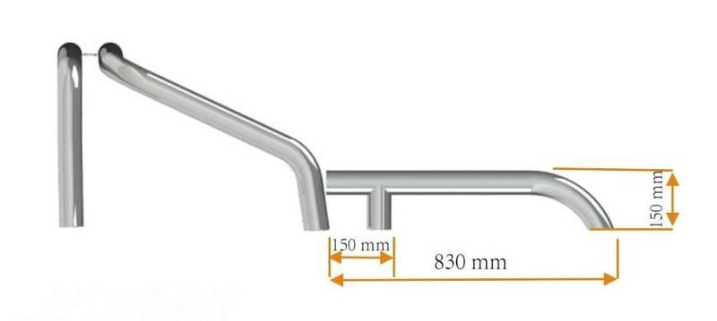 Veltebøyle bakredel universal 70Ø Stål vinkel bein